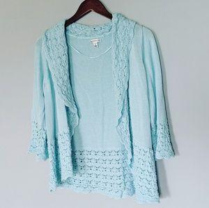 Croft & Barrow Plus Mint Knit Open Cardigan